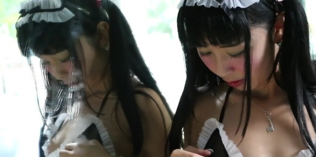 Japanese Maid Gets Horning Cleaning Up The Bathroom