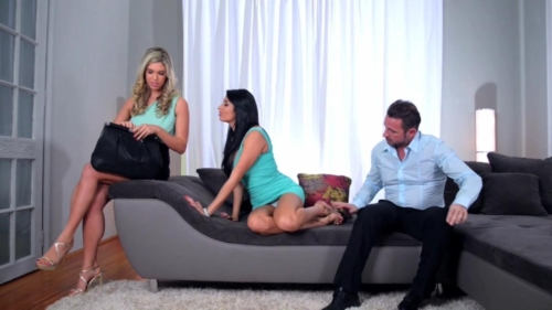 Brunette Babe Anissa Kate and Hot Blonde Ava Harper Enjoy Foot Play and a Guy with a Big Cock