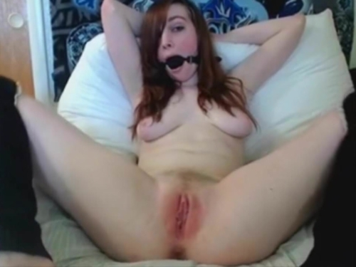 Hitachi Cum Show With Sexual Play Ball Gag
