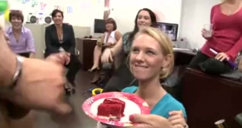 Male Stripper Cums On Her Slice Of Cake