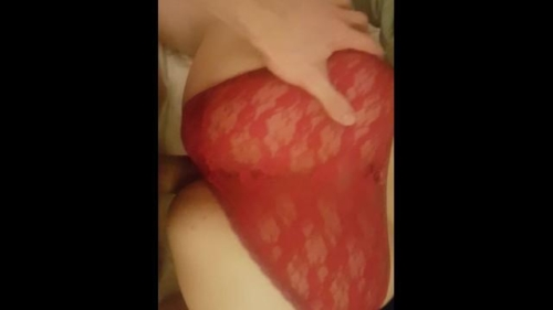 Thick Asian Slut Takes Big White Dick On Bed Panties Pulled To Side